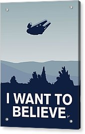 My I Want To Believe Minimal Poster-millennium Falcon Acrylic Print by Chungkong Art