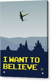 My I Want To Believe Minimal Poster- Xwing Acrylic Print