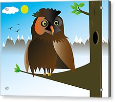 My Owl Acrylic Print by Kenneth Feliciano