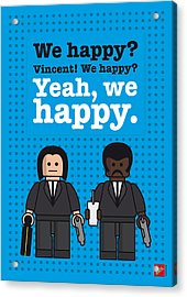 My Pulp Fiction Lego Dialogue Poster Acrylic Print by Chungkong Art