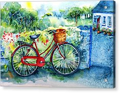 My Red Bicycle Acrylic Print by Trudi Doyle