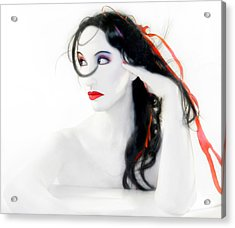 My Red Melancholy - Self Portrait Acrylic Print