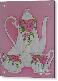 My Royal Doulton  English Rose Teaware Acrylic Print by Margaret Newcomb
