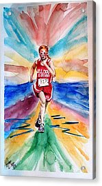 Acrylic Print featuring the painting My Sarah Running Cross Country by Richard Benson