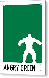 My Superhero 01 Angry Green Minimal Poster Acrylic Print by Chungkong Art
