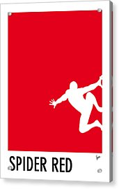 My Superhero 04 Spider Red Minimal Poster Acrylic Print