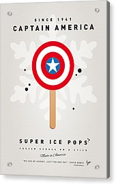 My Superhero Ice Pop - Captain America Acrylic Print by Chungkong Art