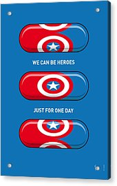 My Superhero Pills - Captain America Acrylic Print by Chungkong Art