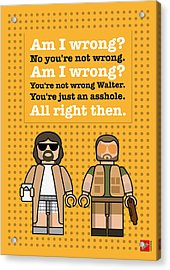 My The Big Lebowski Lego Dialogue Poster Acrylic Print by Chungkong Art