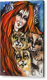 My Three Cats Acrylic Print by Angel  Tarantella