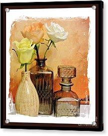 My Three Roses Still Life Acrylic Print by Marsha Heiken