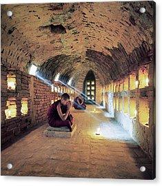 Myanmar, Buddhist Monks Inside Acrylic Print by Martin Puddy