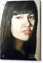 Acrylic Print featuring the drawing Myra Molloy Winner Of Thailand Got Talent  by Jim Fitzpatrick