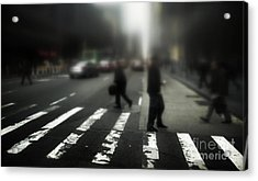 Mysterious Business Men In New York City Crosswalk Acrylic Print by Amy Cicconi