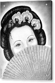 Mysterious - Geisha Girl With Orchids And Fan Acrylic Print by Nicole I Hamilton