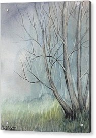 Acrylic Print featuring the painting Mystery Forest by Rebecca Davis