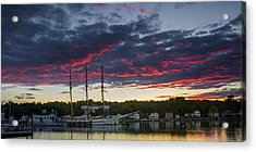 Mystic River Burning Sunset Acrylic Print