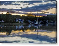 Mystic River Sunset Reflection Acrylic Print