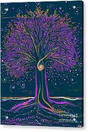 Mystic Spiral Tree 1 Purple Acrylic Print