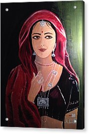 Acrylic Print featuring the painting Mystic Woman by Brindha Naveen