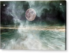 Mystical Beach Moon Acrylic Print by Betsy Knapp