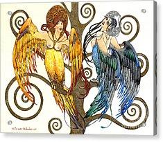 Mythological Birds-women Alconost And Sirin- Elena Yakubovich  Acrylic Print by Elena Yakubovich