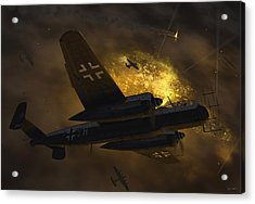 Nachtjagd Over Berlin Acrylic Print by Robert Perry