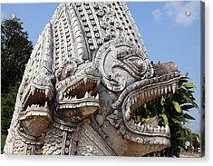Naga Statue - Wat Phra That Lampang Luang - Lampang Thailand - 01133 Acrylic Print