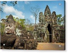 Naga Statues On The Bridge To Angkor Acrylic Print