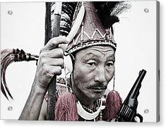 Naga Tribal Warrior In Traditional Acrylic Print by Exotica.im