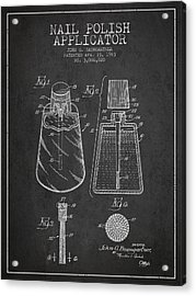 Nail Polish Applicator Patent From 1963 - Dark Acrylic Print by Aged Pixel