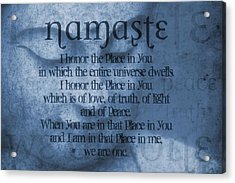 Namaste Blue Acrylic Print by Dan Sproul