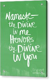 Namaste Card Acrylic Print by Linda Woods