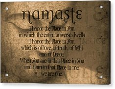 Namaste Orange Acrylic Print by Dan Sproul