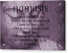 Namaste Pink Acrylic Print by Dan Sproul