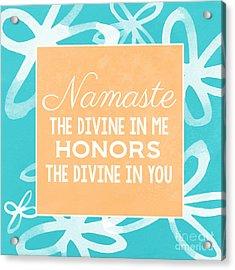 Namaste Watercolor Flowers- Blue Acrylic Print by Linda Woods