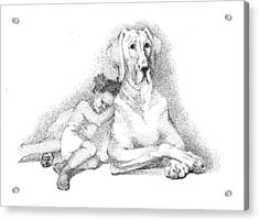 Nap Time. Dog And A Girl. Stippling. Acrylic Print