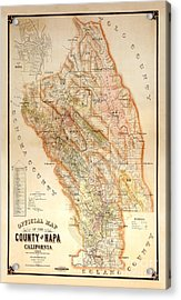 Napa Valley Map 1895 Acrylic Print by Jon Neidert