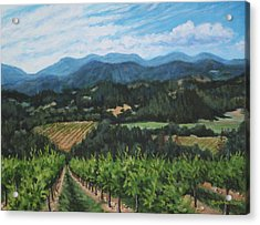 Acrylic Print featuring the painting Napa Valley Vineyard by Penny Birch-Williams