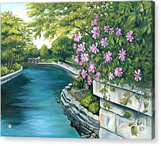Acrylic Print featuring the painting Naperville Riverwalk by Debbie Hart