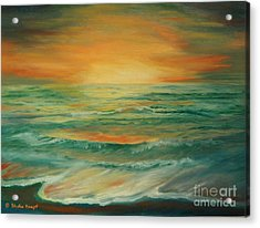 Acrylic Print featuring the painting Naples Mystical Sunset by Shelia Kempf