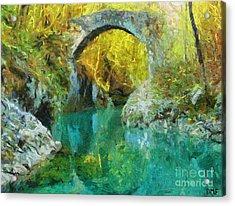Napoleon Bridge Across The River Nadiza Acrylic Print by Dragica  Micki Fortuna