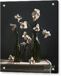Narcissus And Bottles Acrylic Print by Larry Preston