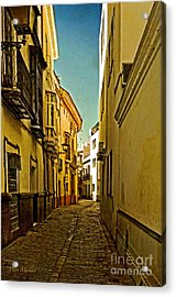 Narrow Street In Seville Acrylic Print by Mary Machare