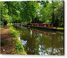 Narrowboats Moored On The Wey Navigation In Surrey Acrylic Print by Louise Heusinkveld