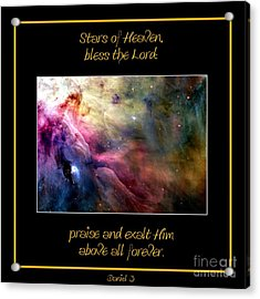 Acrylic Print featuring the photograph Nasa Ll Ori And The Orion Nebula Stars Of Heaven Bless The Lord by Rose Santuci-Sofranko