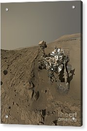 Nasas Curiosity Mars Rover On Planet Acrylic Print by Stocktrek Images