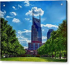 Nashville Batman Building Landscape Acrylic Print by Dan Holland