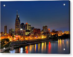 Nashville Lit Up Acrylic Print by Zachary Cox
