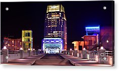 Nashville Sight Night Skyline Pinnacle Panorama Color Acrylic Print